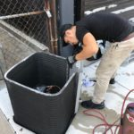 HVAC Service on air conditioner condenser